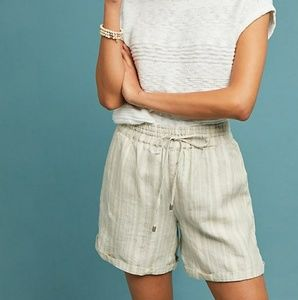 Anthropologie beachy linen short in neutral stripe